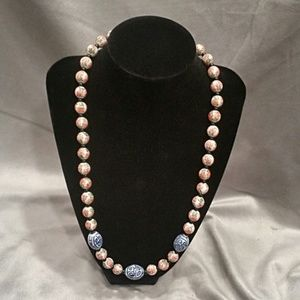 Jewelry - Vintage Asian Porcelain Hand Painted Bead Necklace